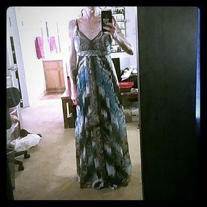 Floor length maxi dress.
